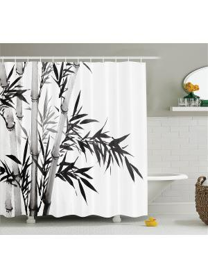 Фотоштора для ванной Ирисы и бабочки, денежный дождь, белые ромашки, бамбук, 180x200 см Magic Lady. Цвет: белый, серый, черный