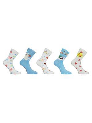 Носки 5 пар Master Socks. Цвет: молочный, голубой
