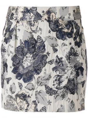 Приталенная юбка с цветочной вышивкой Piccione.Piccione. Цвет: синий