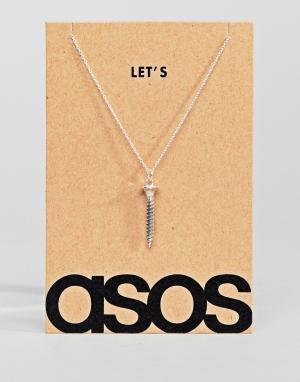ASOS Серебряное ожерелье с подвеской в виде винта. Цвет: серебряный