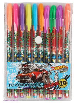 Ручки гелевые Hot Wheels неон 10 цветов PVC упаковка Mattel. Цвет: прозрачный