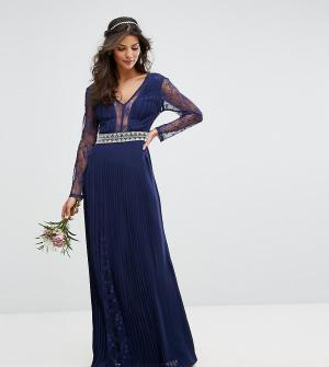 TFNC Плиссированное платье макси с длинными рукавами и кружевом WEDDIN. Цвет: темно-синий