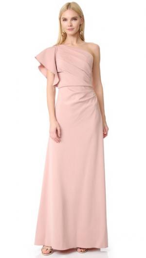 Вечернее платье с открытым плечом Monique Lhuillier Bridesmaids. Цвет: голубой