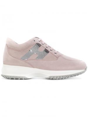 Кроссовки на шнуровке Hogan. Цвет: розовый и фиолетовый