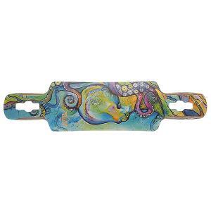 Дека для скейтборда лонгборда  S6 Kraken Drop-through Deck Multi 38.5 x 9.5 (24.1 см) Dusters. Цвет: голубой,мультиколор