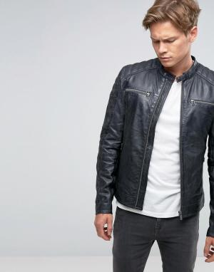 Goosecraft Черная кожаная байкерская куртка с молниями. Цвет: черный