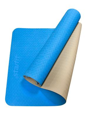 Коврик для йоги STARFIT FM-201 TPE 173x61x0,4 см, синий/серый 1/12. Цвет: серый, синий