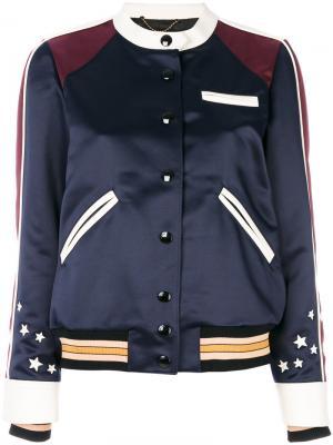 Сатиновая куртка-бомбер с вышивкой Coach. Цвет: синий