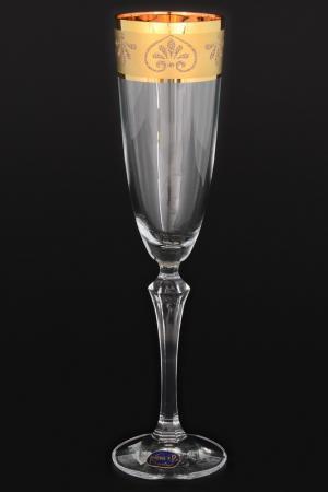 Фужеры для шампанского, 6 шт BOHEMIA CRYSTAL. Цвет: прозрачный, золотой