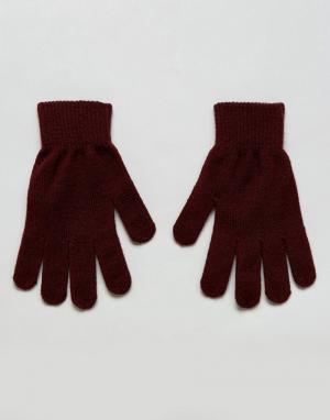 Pieces Трикотажные перчатки. Цвет: красный