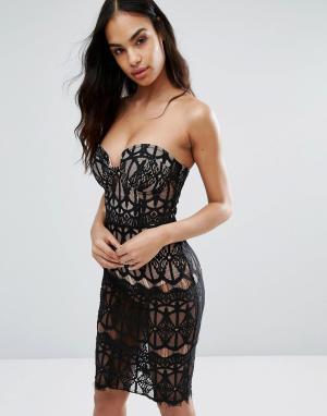 Rare Платье-футляр из прозрачного кружева с лифом на косточках London. Цвет: черный
