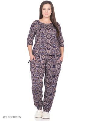 Комплект домашней одежды ( блузка, брюки) HomeLike. Цвет: бежевый, темно-синий