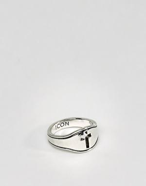 Icon Brand Кольцо-печатка с крестиком. Цвет: серебряный