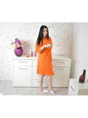 Халат Вафельный Кимоно hb-tex.ru. Цвет: оранжевый