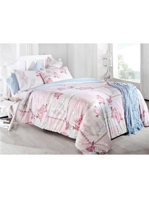Комплект постельного белья PASTORAL Многоцветный, ранфорс, 145ТС, 100% хлопок, евро ISSIMO Home. Цвет: розовый