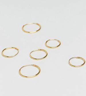 ASOS 3 пары сережек‑колец из позолоченного серебра. Цвет: золотой
