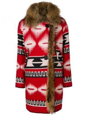 Пальто с этническим узором Bazar Deluxe. Цвет: красный