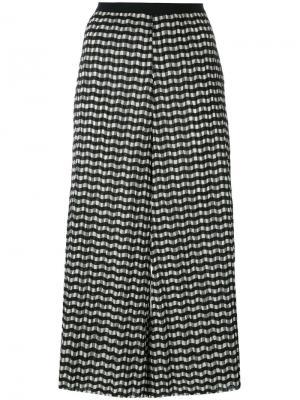 Укороченные брюки с зигзагообразным принтом Erika Cavallini. Цвет: чёрный