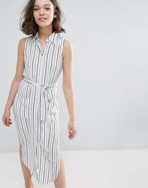 Pixie & Diamond Платье-рубашка в полоску без рукавов. Цвет: белый