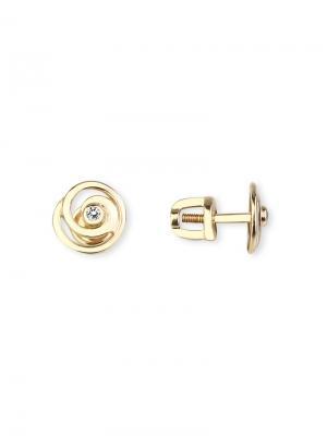 Стильные серьги - пусеты из красного золота с бриллиантами KU&KU. Цвет: прозрачный, белый, золотистый