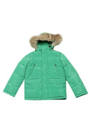 Куртка с меховой опушкой Arctic Goose. Цвет: зеленый