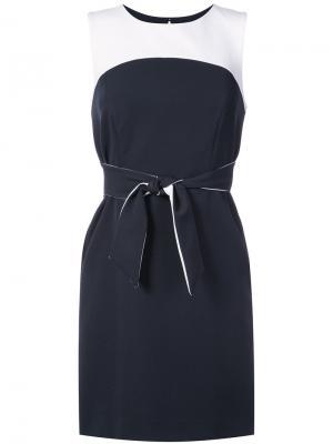 Двухслойное платье с поясом Milly. Цвет: синий