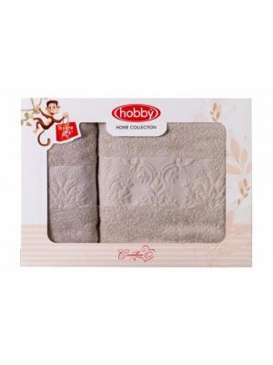 Махровое полотенце в коробке 50x90+70x140 RUZANNA ,бежевое,100% хлопок HOBBY HOME COLLECTION. Цвет: бежевый