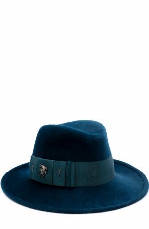 Фетровая шляпа с атласной лентой и брошками Philip Treacy. Цвет: бирюзовый