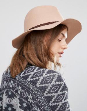 Boardwalk Фетровая шляпа с широкими полями Boardmans. Цвет: бежевый