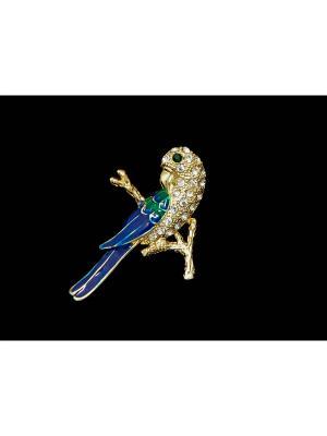 Брошь Miss Bijou. Цвет: золотистый,синий,зеленый