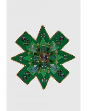 Брошь с кристаллами Erickson Beamon. Цвет: зеленый