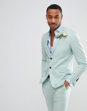 Jack & Jones Зеленый приталенный пиджак Premium. Цвет: зеленый