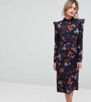 Hope and Ivy Платье с длинными рукавами, оборками и цветочным принтом &. Цвет: мульти