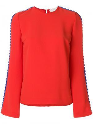 Блузка с фактурной полоской Galvan. Цвет: красный