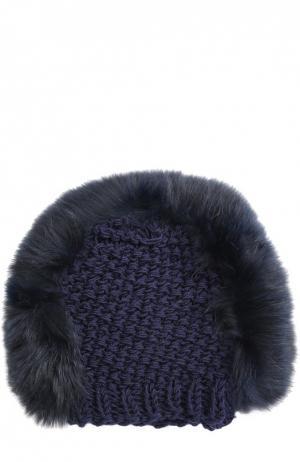 Вязаная шапка с отделкой из меха лисы Gigi Burris Millinery. Цвет: темно-синий