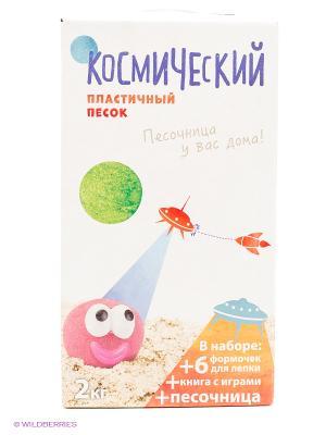 Космический песок Песочница+Формочки Зеленый 2 кг коробка пластичный. Цвет: зеленый