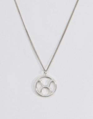 Fashionology Серебряное ожерелье со знаком зодиака Телец. Цвет: серебряный
