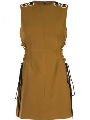 Короткое платье с люверсами Self-Portrait. Цвет: коричневый