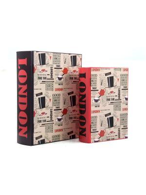 Набор шкатулок-фолиантов Лондон Русские подарки. Цвет: бежевый, красный, черный