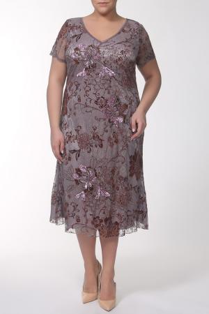 Платье Lia Mara. Цвет: серый, сиреневый, коричневый