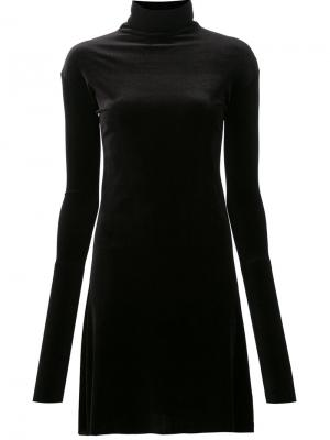 Велюровое платье с отворотной горловиной Les Animaux. Цвет: чёрный