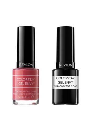 Revlon Набор: 009 гель-лак colorstay gel envy lady luck 050-110 + верхнее покрытие  co. Цвет: коралловый