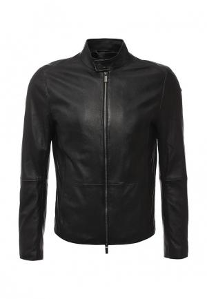 Куртка кожаная Boss. Цвет: черный