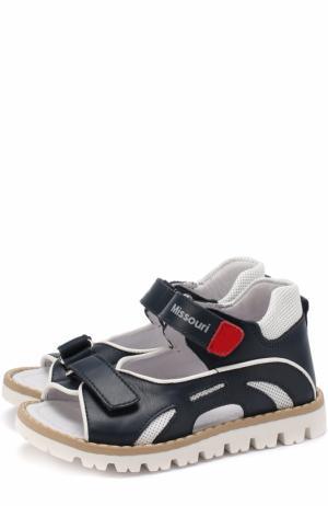 Кожаные сандалии с контрастной окантовкой Missouri. Цвет: синий