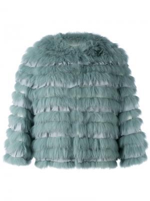 Куртка с шелковыми панелями Yves Salomon. Цвет: зелёный