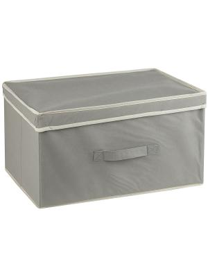Короб STANDART Grey с крышкой, 38*33*18Н см WHITE FOX. Цвет: серый