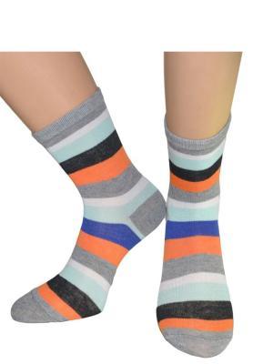 Носки HOBBY LINE. Цвет: светло-серый, оранжевый, бирюзовый