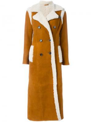 Длинное пальто с овчиной Giada Benincasa. Цвет: жёлтый и оранжевый