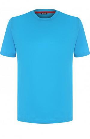 Хлопковая футболка с круглым вырезом Kiton. Цвет: бирюзовый