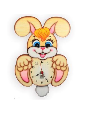 Часы с маятником Зайчишка Игруня, Ларец чудес. Цвет: светло-коричневый, розовый